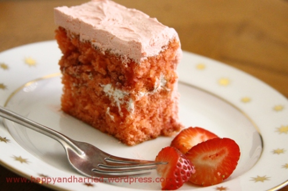 Strawberry Cake with Strawberry Whipped Cream Frosting | At the Corner ...