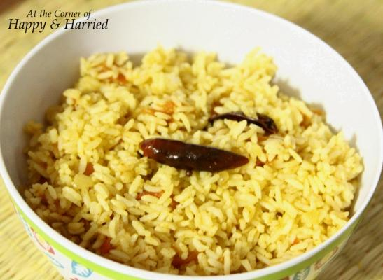 Tomato Rice With Cucumber-Carrot Raita | At the Corner of Happy and ...