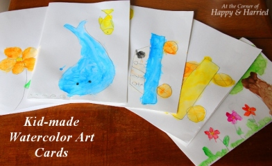 Kid-made Watercolor Art Cards