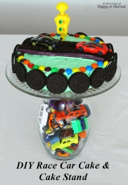 Race Car Cake & DIY Cake Stand