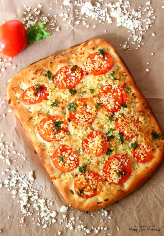 Easy Focaccia Bread With Tomato, Parsley & Indian Cottage Cheese Toppings