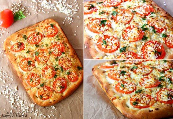 Easy Focaccia Bread With Tomato, Parsley & Paneer Toppings