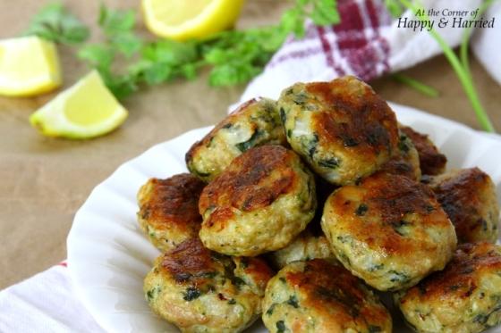 Baked Chicken, Feta & Spinach Meatballs