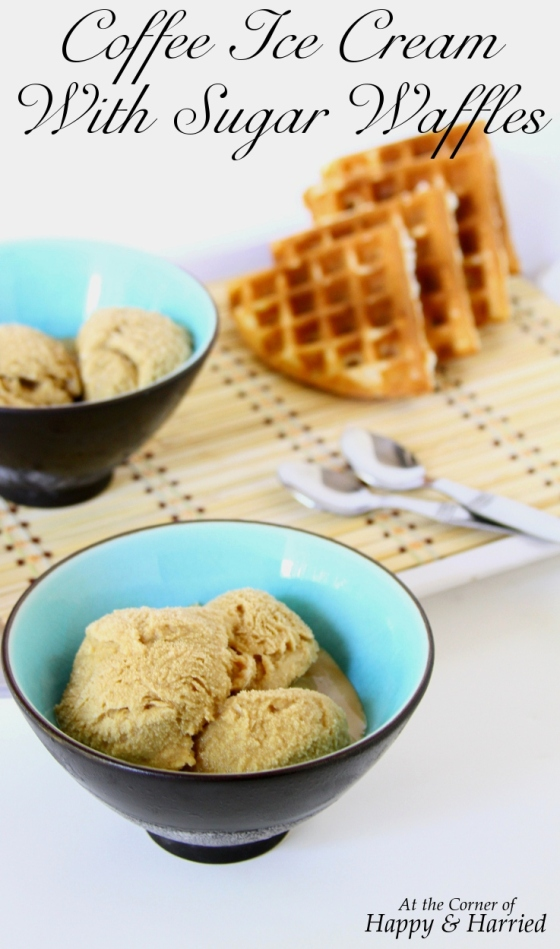 Coffee Ice Cream With Sugar Waffles