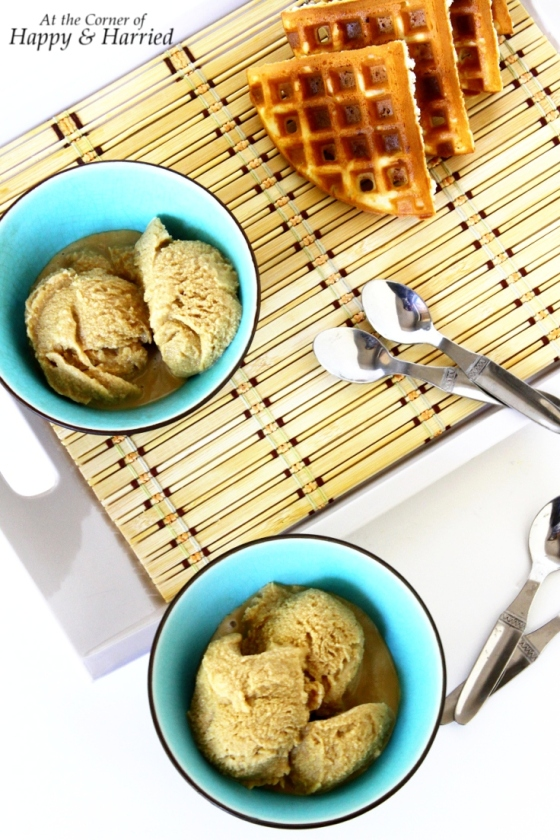 Easy Homemade Coffee Ice Cream With Sugar Waffles