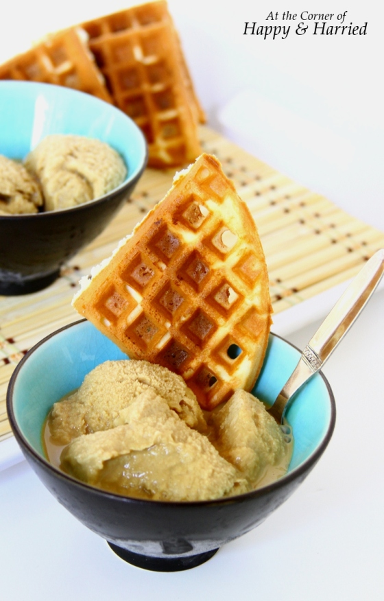 Homemade Coffee Ice Cream With Sugar Waffles