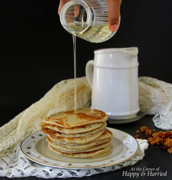 Sugar Syrup Over Banana Malpua (Indian Pancakes)