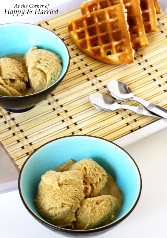 Three-Ingredient Homemade Coffee Ice Cream With Sugar Waffles