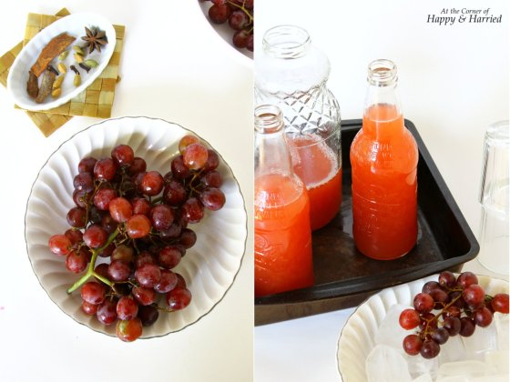 Dalchini, Laung Aur Elaichi Wali Angoor Ka Sharbat (Spice Infused Red Grape Juice Concentrate)
