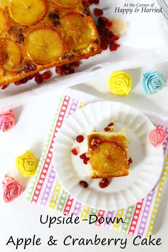 Easy Upside Down Apple & Cranberry Cake