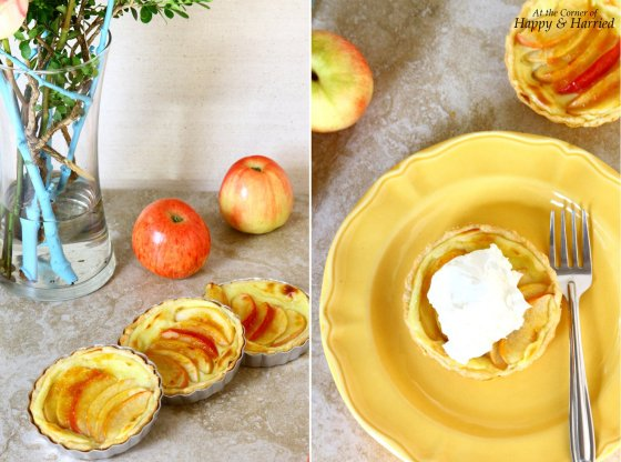 Pastry Cream Filled Mini Apple Tarts Served With Whipped Cream
