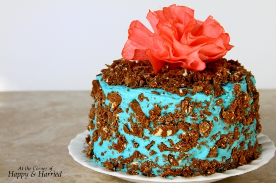Toblerone Topped Chocolate Layer Cake With Blue Vanilla Buttercream Frosting