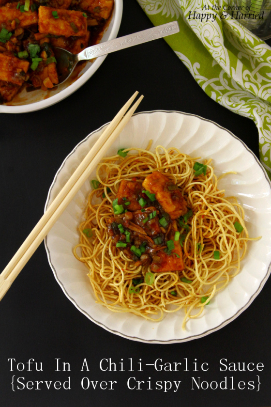 Tofu In A Spicy Chili-Garlic Sauce & Served Over Crispy Noodles
