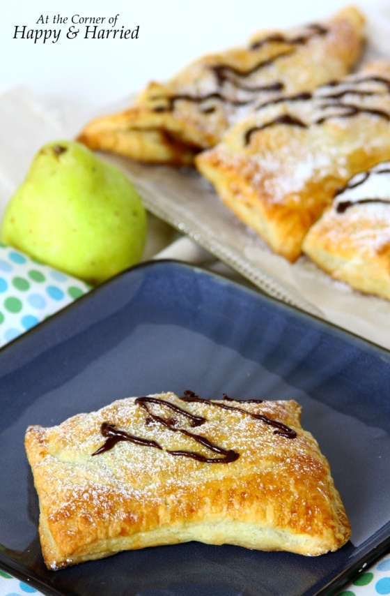 Chocolate And Pear Turnover With Chocolate Drizzle