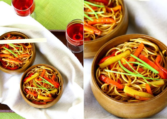 Egg Noodles Lo Mein With Red Peppers, Carrots & Zucchini