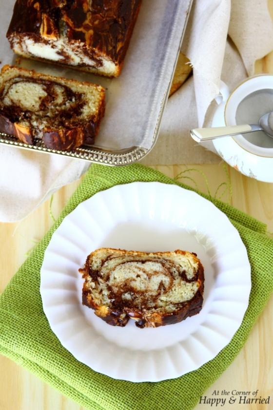 Eggless Vanilla & Chocolate Marble Loaf Cake Slice
