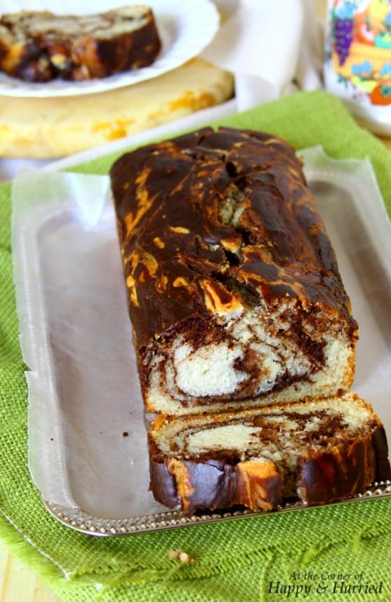 Eggless Vanilla & Chocolate Marble Loaf Cake (With Yogurt & Cocoa Powder)