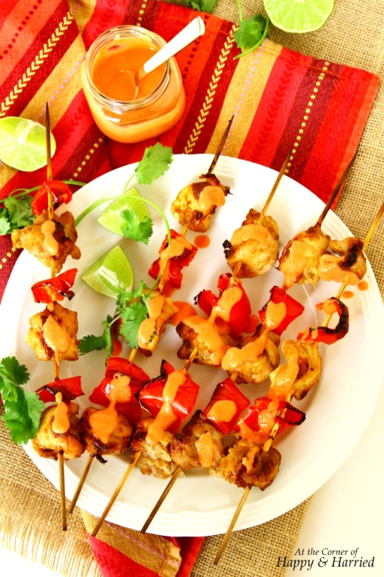 Chicken & Red Pepper Tikka Skewers With Roasted Red Pepper Raita