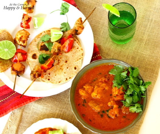 Chicken Tikka Skewers, Chicken Tikka Masala & Rotis