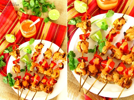 Chicken Tikka Skewers With Roasted Red Pepper Raita (Yogurt Dip)
