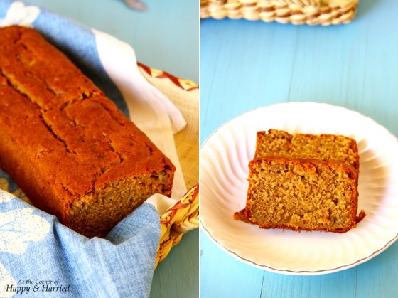 Eggfree Peanut Butter Banana Bread