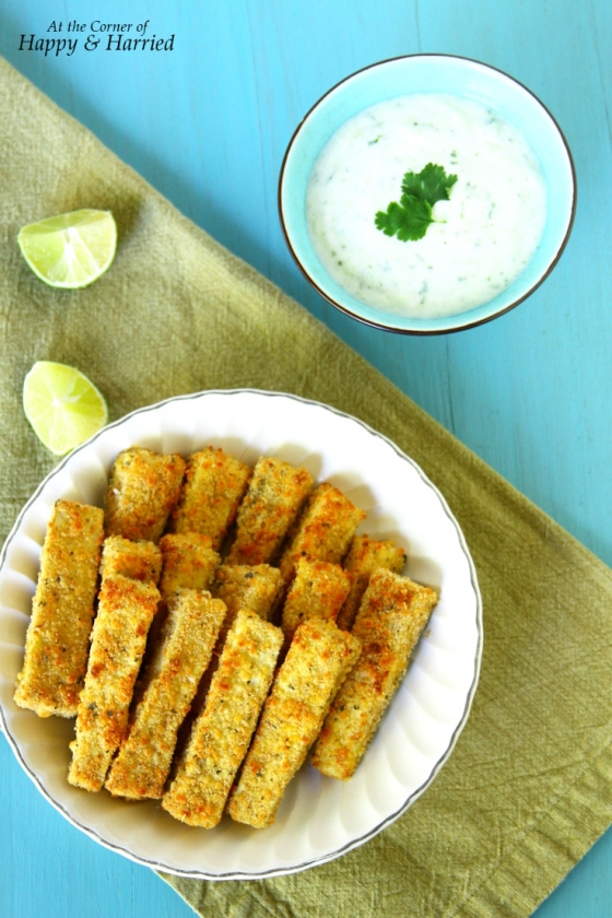 Oven Baked Crispy Eggplant Fries Served With Fresh Tzatziki (Greek Yogurt) Dip