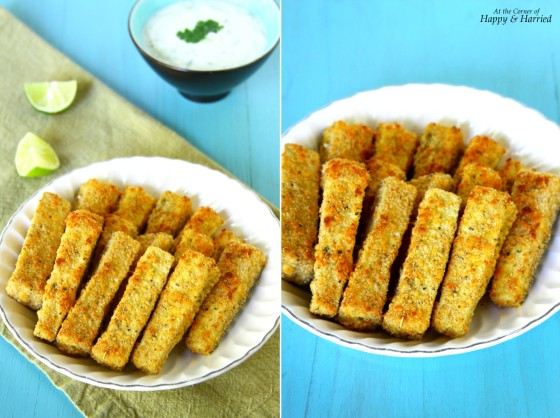 Oven Baked Crispy Parmesan Eggplant Fingers With Greek Tzatziki Sauce