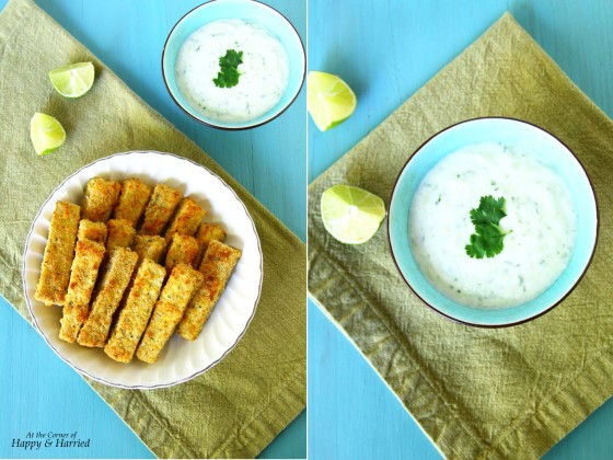 Oven Baked Eggplant Fingers Served With Tzatziki Sauce