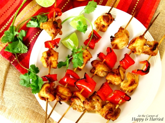 Oven Grilled Chicken & Red Pepper Tikka Skewers