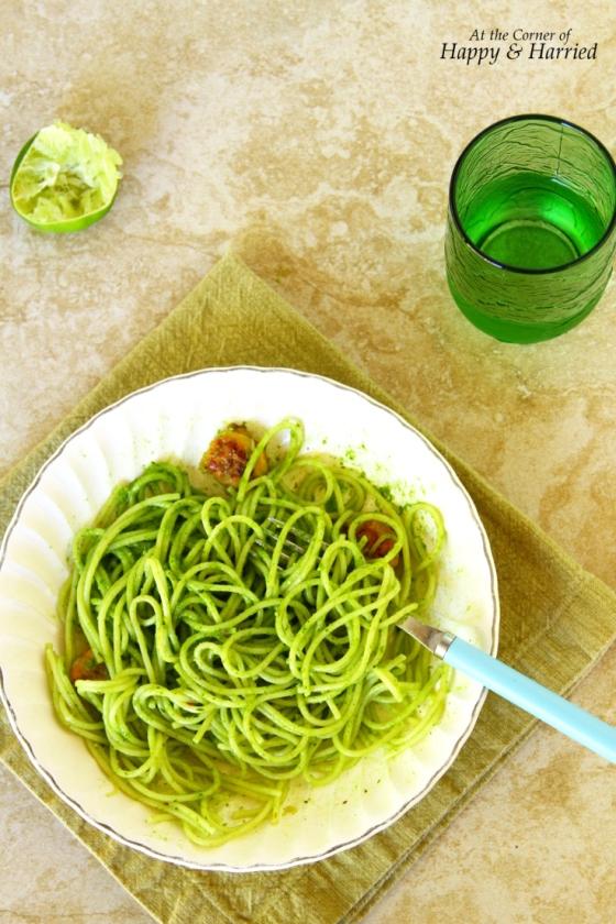 Pasta With Spinach, Cilantro, Almond & Lime Pesto