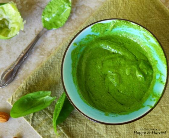 Pesto With Spinach, Cilantro, Almonds, Lime & Olive Oil
