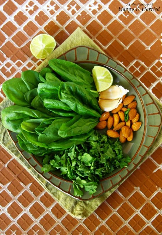 Pesto With Spinach, Cilantro, Almonds, Limee, Garlic & Olive Oil