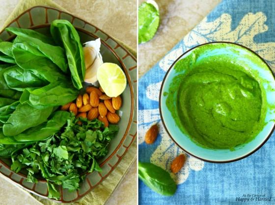Spinach, Cilantro, Almonds, Limee, Garlic & Olive Oil Pesto
