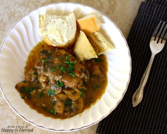 Braised Chicken And Mushrooms With Parsley