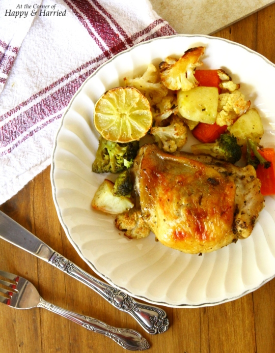 Herb Roasted Chicken{With Vegetables, Garlic And Lime}