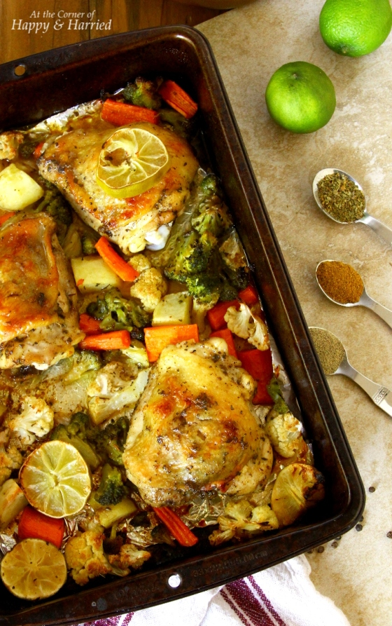 Oven Roasted Chicken Thighs & Vegetables tossed in Oregano, Olive Oil & Lime Juice