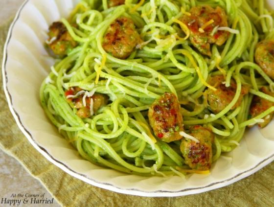 Spaghetti With Sausage And Spinach-Cilantro Pesto