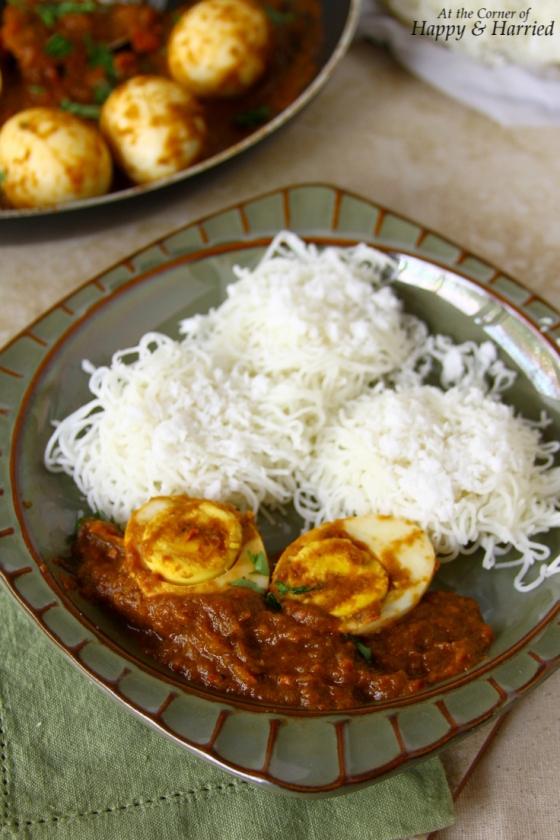 Egg Vindaloo & String Hoppers (Idiyappam or Indian Rice Noodles)
