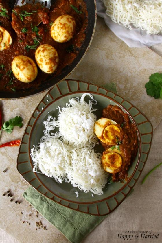 Egg Vindaloo & String Hoppers (Idiyappam)