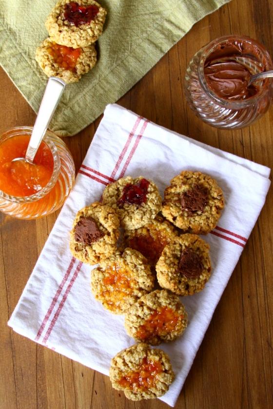Healthier Oatmeal Thumbprint Jam Cookies