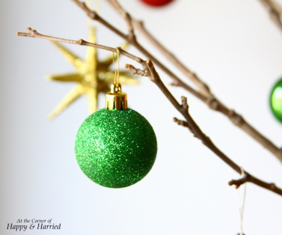 Sparkly Ornament On Twig Christmas Tree