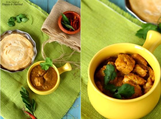 Spicy Chettinadu Chicken Curry Served With Dosas