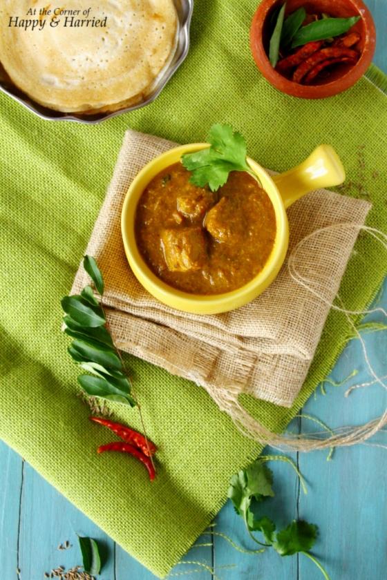 Spicy Chettinadu Chicken Curry With Dosas