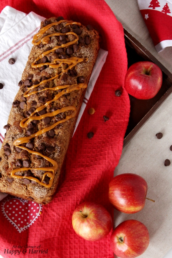 Whole Wheat Quick Apple Bread With Chocolate Chips And Crunchy Crust