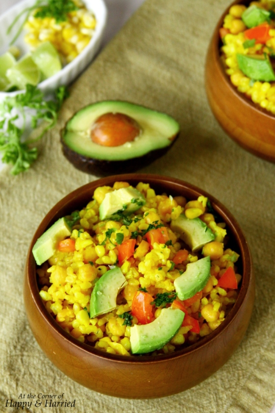 Brown Rice Salad With Lemon, Chickpeas, Corn & Vegetables