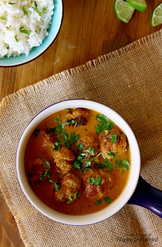 Chicken Meatballs In A Thai Peanut Red Curry