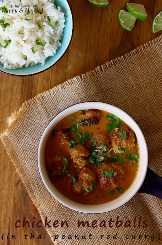 Chicken Meatballs In Thai Peanut Red Curry