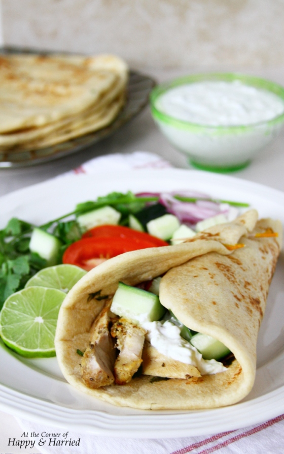 Greek Chicken Gyros With Homemade Flatbreads, Tzatziki & Sumac Rubbed Chicken Souvlaki