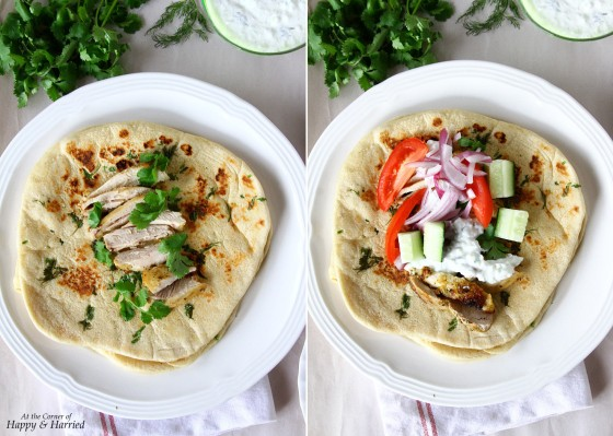 Greek Gyro Wrap With Chicken Souvlaki, Tzatziki And Fresh Vegetables