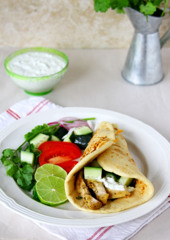 Greek Gyro Wrap With Homemade Flatbread, Grilled Chicken, Tzatziki Sauce & Vegetables